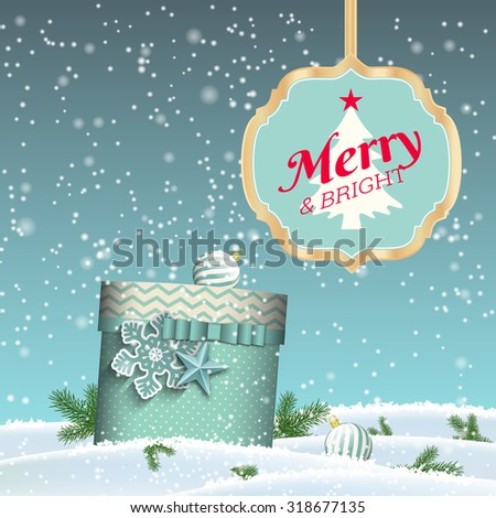 Christmas background with blue present in winter landscape and sign with text Merry and bright, seasonal greeting card, vector illustration, eps 10 with transparency and gradient meshes - stock vector