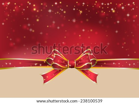 Christmas background with bow. vector illustration - stock vector