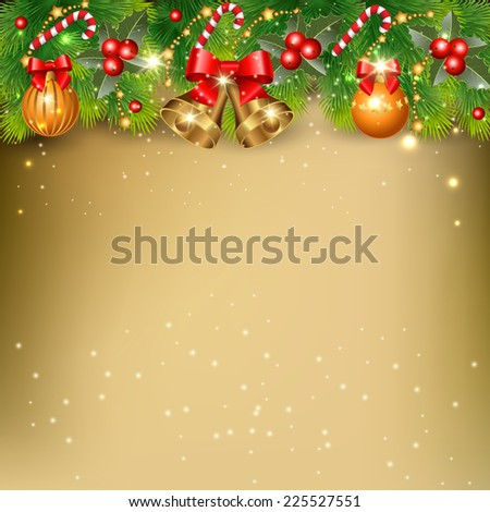 Christmas background with  branches of  spruce and decorative elements - stock vector
