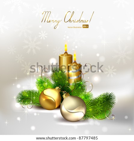 Christmas background with burning candles and Christmas bauble - stock vector