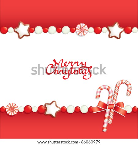 Christmas background with candies, composing a frame for your text - stock vector
