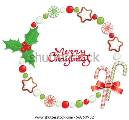 Christmas background with candies, composing a round frame for your text - stock vector