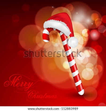 Christmas background with cane and Santa Hat. EPS 10. - stock vector