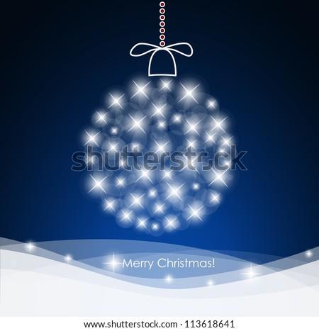 Christmas background with christmas ball illustration. - stock vector