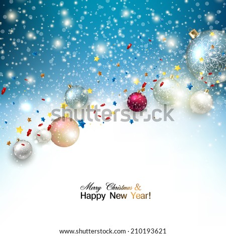 Christmas background with christmas balls and stars garland for xmas design. Vector illustration. - stock vector