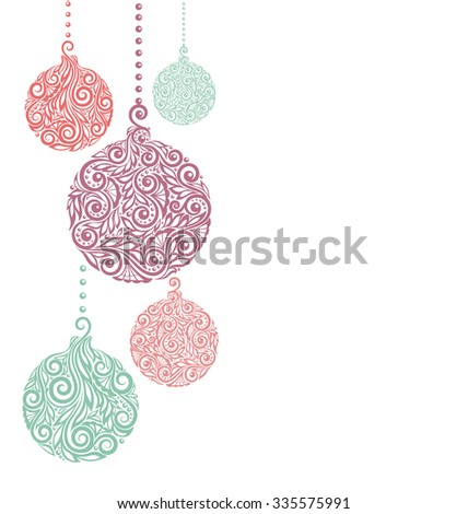 Christmas background with Christmas balls Hanging . Great for  greeting card and invitation of the merry christmas and happy new year - stock vector