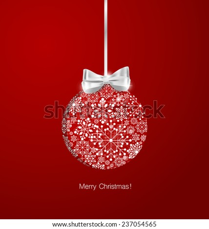 Christmas background with Christmas balls, vector illustration. - stock vector