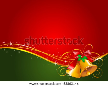 Christmas background with Christmas bells - stock vector