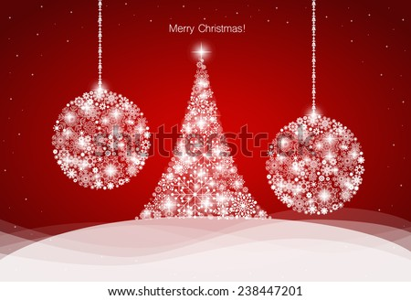 Christmas background with Christmas tree and Christmas balls, vector illustration.