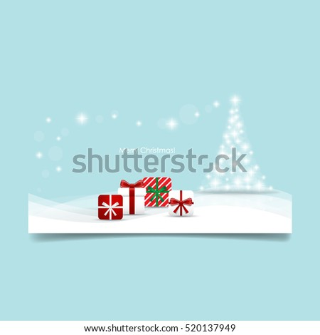 Christmas background with Christmas tree and Christmas presents, vector illustration
