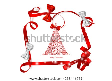 Christmas background with Christmas tree and Shiny ribbon, vector illustration. - stock vector