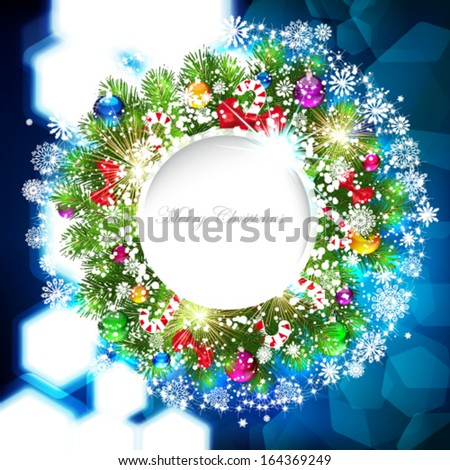Christmas background with Christmas tree branch decorated with glass balls. - stock vector