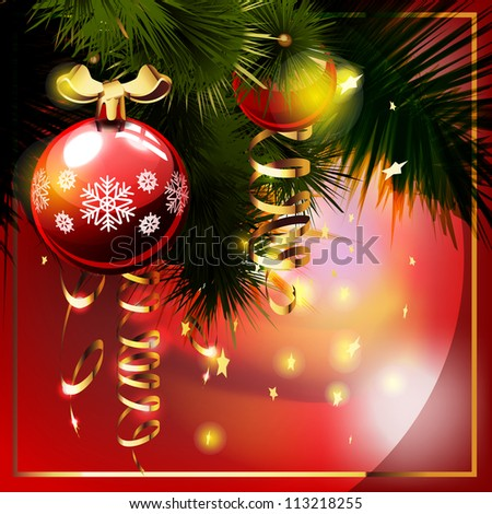 Christmas background with  christmas tree. Greetings card. - stock vector