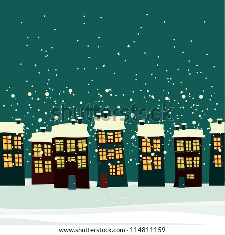 Christmas background with city. seamless - stock vector