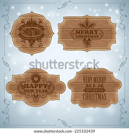 Christmas Background with Collect Retro Wooden Frames and Labels. Vector Template for Cover, Flyer, Brochure. - stock vector