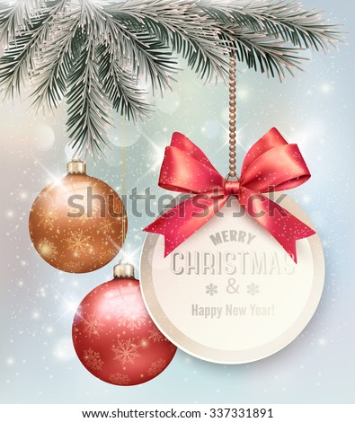 Christmas background with colorful balls and gift card. Vector illustration. - stock vector