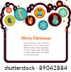 Christmas background with cute icons - stock vector