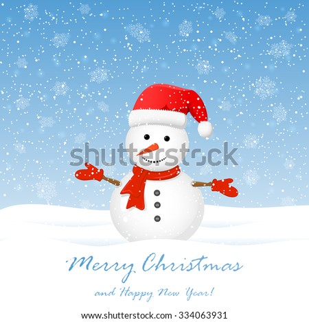 Christmas background with cute snowman and snowflakes, illustration. - stock vector
