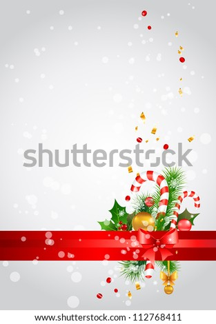Christmas  background with decoration - stock vector
