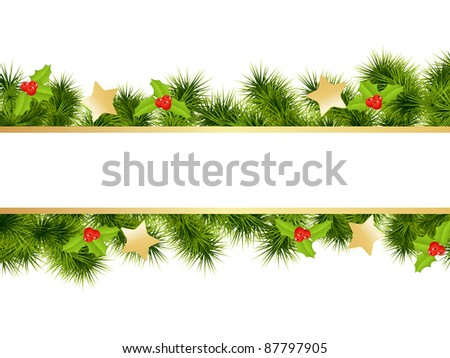 Christmas background with decorations. Vector illustration. - stock vector