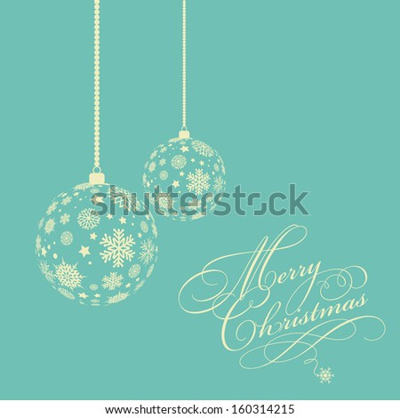 Christmas background with decorative snowflake baubles - stock vector