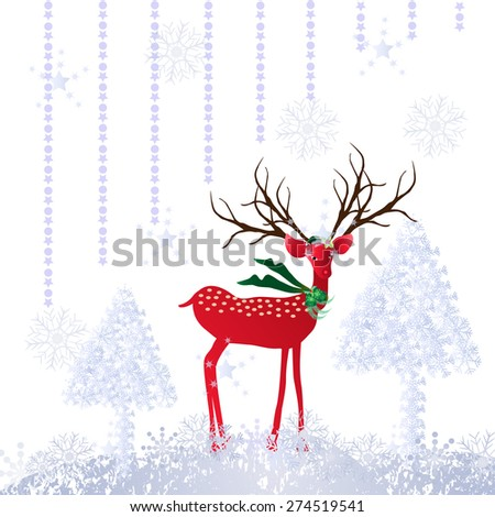 Christmas background  with deer, snowflake and Christmas tree-Vector illustration - stock vector