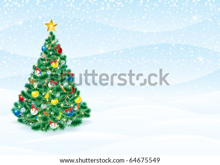 Christmas Background with detailed Christmas Tree - editable vector greeting card template - stock vector