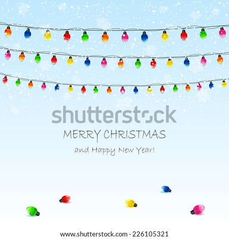 Christmas background with electric garland and snowflakes, illustration.