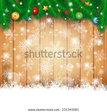 Christmas background with fir and copy space, vector eps10 - stock vector