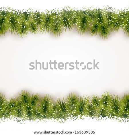 Christmas background with fir border at the top and bottom that will tile seamless horizontally. - stock vector