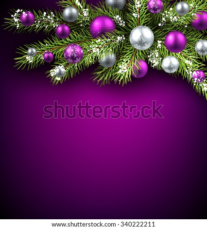 Christmas background with fir branch and balls. Vector illustration. - stock vector