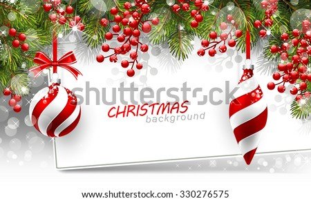 Christmas background with fir branches and red balls with decorations.  Vector illustration - stock vector