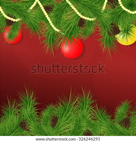 Christmas background with fir branches, decorated with beads and Gars. Vector illustration. - stock vector