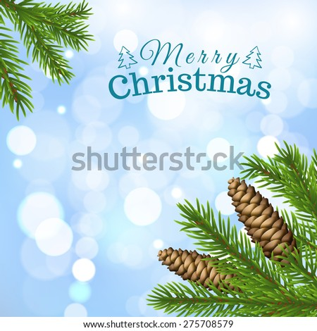 Christmas background with fir tree and cones - stock vector