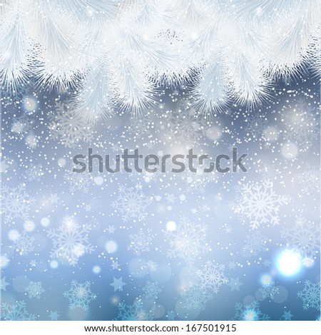 Christmas background with fir tree border - stock vector
