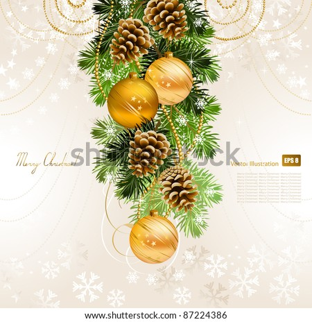 Christmas background with fir tree, cones and evening balls - stock vector