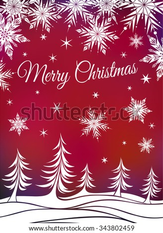 Christmas background with fir-trees and snowflakes - stock vector