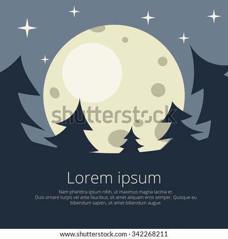 Christmas background with fir trees and the moon and the stars, in a flat style. gloomy picture for postcards and flyers. - stock vector