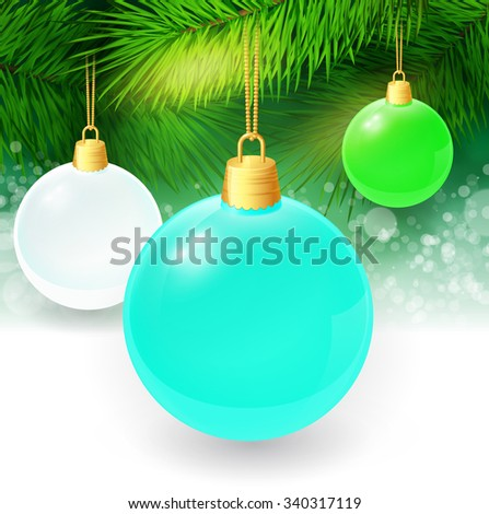 Christmas background with fir twigs and christmas balls. Vector illustration. EPS 10