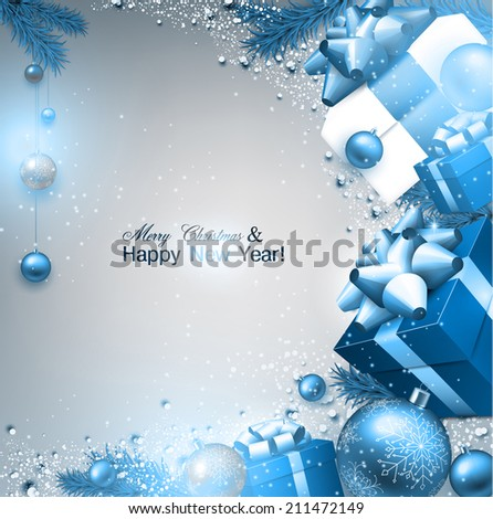 Christmas background with fir twigs, gifts and blue balls. Xmas baubles.Vector illustration. - stock vector