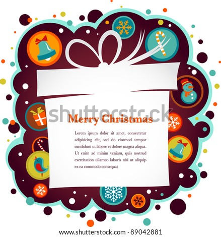 Christmas background with gift box and cute icons - stock vector