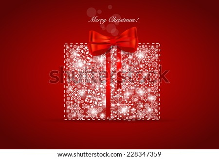 Christmas background with gift box and snowflakes, vector illustration. - stock vector