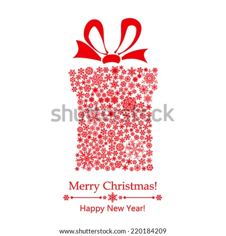 Christmas background with gift box made of snowflakes, with bow - stock vector