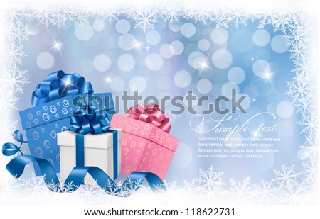 Christmas background with gift boxes and blue ribbons. Vector illustration. - stock vector