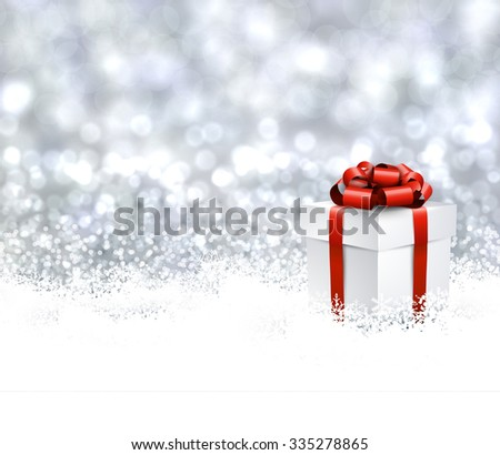 Christmas background with gift. Vector Illustration. - stock vector