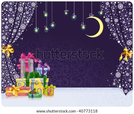 Christmas background with gifts on stylized stage. With space for your text. - stock vector