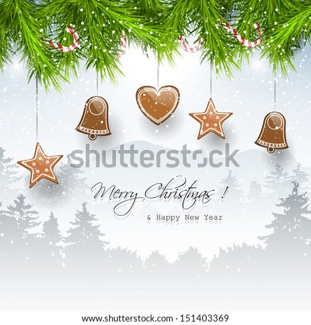 Christmas background with gingerbreads and place for text  - stock vector