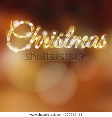 Christmas background with glitter lights, vector illustration