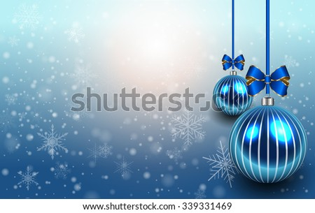 Christmas background with glossy balls and snowflakes, christmas vector illustration. - stock vector