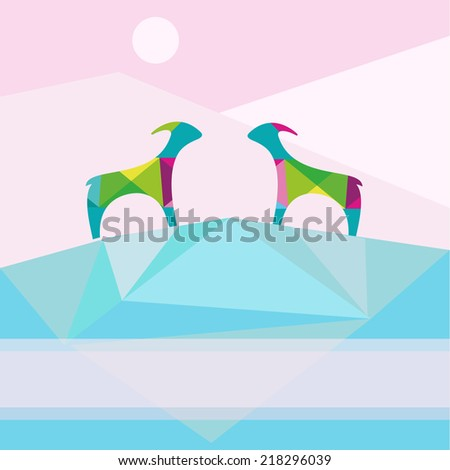 Christmas background with goats. Goats on the mountain in the morning - stock vector